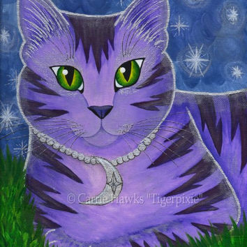 Whimsical Cat Painting Moon Cat Art Astra Purple Cat Celestial Cat Stars Fantasy Cat Art Print 8x10 Cat Lovers Art