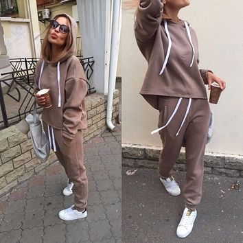 2018 Autumn Tracksuit Long Sleeve Thicken Hooded Sweatshirts 2 Piece Set Casual Sport Suit Women Tracksuit Set