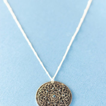 Antique silver medallion necklace with blue rhinestones - silver necklace, blue rhinestone necklace, medalion necklace