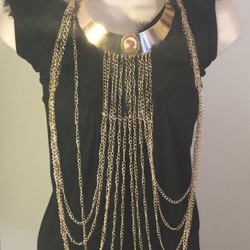 Vintage Cameo Gold Chain Necklace/Free Shipping