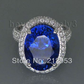 Vintage Oval 9x12mm 18kt White Gold  AAAA Tanzanite Ring SR329A