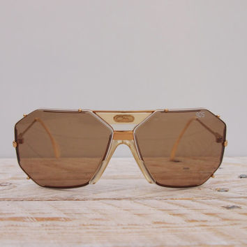 Vintage 1980s Cazal 905 Sunglasses - West Germany Unisex Frames - VTG 80s Brown Glass Cream Oversize Avant Garde Sunglasses
