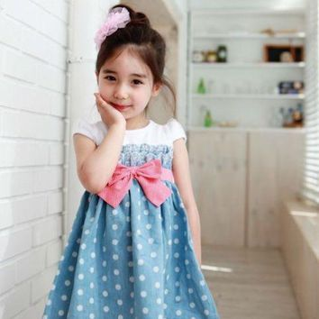 New Baby Kids Girls Toddlers Cowboy Blue Polka dot Bowknot Dress Clothes 5-6Y yfx02