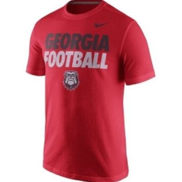 DCCKG8Q NCAA Georgia Bulldogs Nike Football Practice Red Cotton Shirt