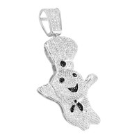 14K White Gold Tone PIllsbury Dough Boy Pendant Black White Lab Diamonds
