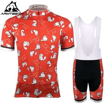 2017 Hot Sale Men Team Pro Cycling Sets Bike Clothing Breathable Bike Clothes Maillot Ropa Ciclismo Simon's Cat Cycling Jerseys