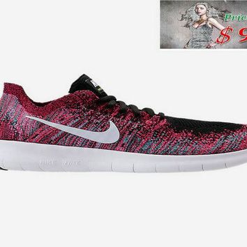Authentic WOMENS NIKE FREE RN FLYKNIT 2017 RUNNING SHOES 880844 006 Black White Racer Pink Gamma Blue shoe