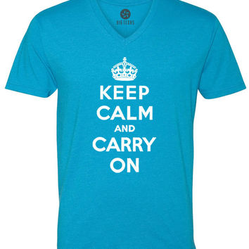 Keep Calm and Carry On (White) Short-Sleeve V-Neck T-Shirt