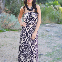 Like a Love Song Strapless Maxi - Black & Taupe
