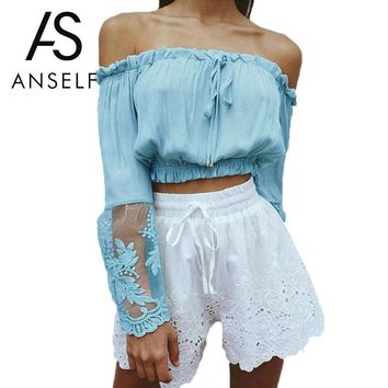 Fashion Summer Off Shoulder Lace Blouse Sexy Women Long Sleeve Embroidery Blouse Shirt Sheer Tops Plus Size