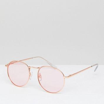 ASOS 90S Round Fashion Sunglasses In Pink Metal With Pink Lens at asos.com