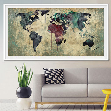 Extra large wall art, World Map extra large art, large world map print, world map poster, large map poster, Home Decor, Wall Art Print (L16)