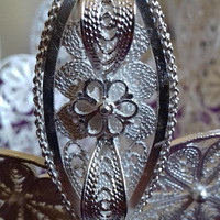 Christmas Gift Filigree vase silver basket handmade.Unique piece, silver completely.Exclusive