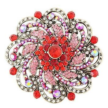 *Round Rhinestone & Gems Brooch- Red