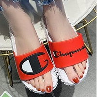 Champion Fashion New Letter Logo Spot Women Men Slippers Shoes Red