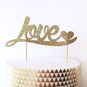 Love and Heart Gold Glitter Cake Topper - Gold Cake Topper - Wedding Decorations // Engagement Party // Bridal Shower Decor