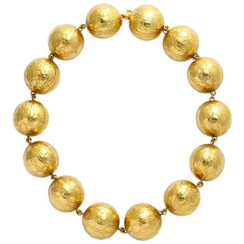 Gucci Alligator Finish Large Gold Ball Necklace