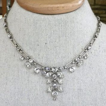 Clear Rhinestone Silver Tone Choker Adj Length Articulated Link Necklace Bridal