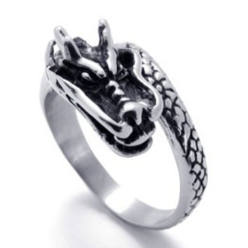 Stainless Steel Dragon Ring-Size 11