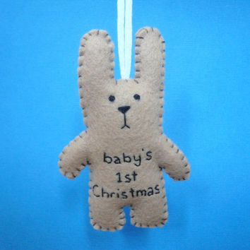 Custom Order - baby's 1st Christmas bunny tree ornament decoration shower girl boy first (x 2)