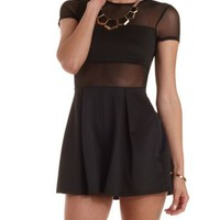 Black Mesh Cut-Out Pleated Romper by Charlotte Russe