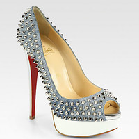 Christian Louboutin - Lady Spiked Denim Platform Pumps