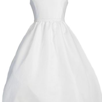 V Back Collar White Organza First Holy Communion Dress w Back Bow (Girls Size 7 to 14)