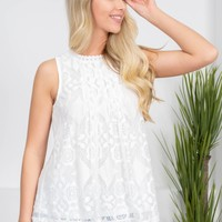 Vintage White Floral Lace Top