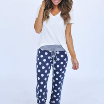 Polka Dot Lounge Pants- Navy