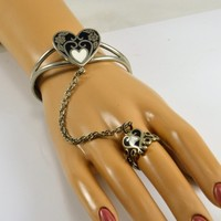 Slave Chain Bracelet & Ring - Inlay Black White Onyx Hearts - Alpaca Silver Floral Design - Artist Signed - Ring Size 7