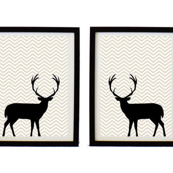 Printable Art  -Digtal art print - Deer print - set of 2 parts  - Digital download - zig zag print - instant download - Modern art