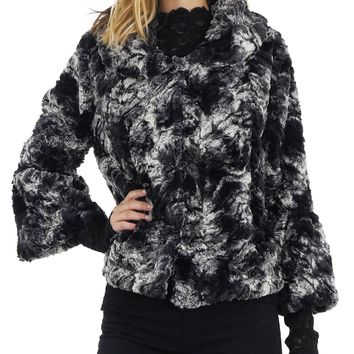 Faux Fur Tie-Dye Peter Pan Collar Jacket