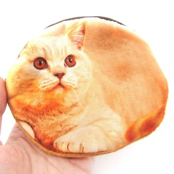 Orange Kitty Cat Shaped Digital Print Zipper Coin Purse Make Up Bag