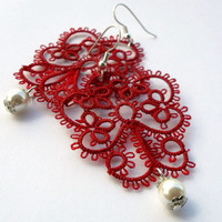 "red lace earrings ""red fairy"", red and white, handmade tatting lace, MADE TO ORDER"