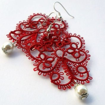 """red lace earrings """"red fairy"""", red and white, handmade tatting lace, MADE TO ORDER"""