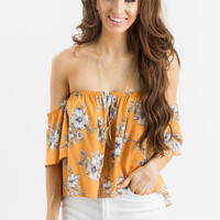 Felicity Orange Floral Off the Shoulder Top