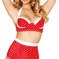 Red and White Pinup Halter Top