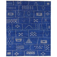 Contemporary Moroccan Style Area Rug in Cobalt Blue