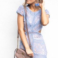 Lovely Ways Blue Open Back Lace Dress