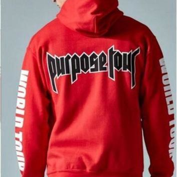 Justin Bieber Purpose Tour All Access Red Pullover Hoodie Streetwear Fleece Cotton WORLD TOUR Special Sweatshirt Women men 3XL