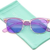 Transparent Frame Tinted Color Lens Semi-Rimless Style Chic Retro Sunglasses