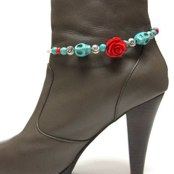 Boot Bracelet Day Of The Dead Sugar Skull Turquoise Blue Silver Red Rose Western