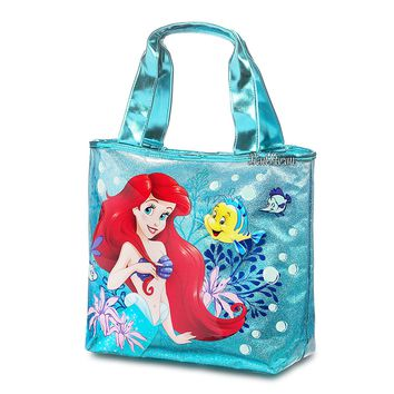 Licensed cool Ariel Flounder Swim Beach Bag Purse Green Glitter PVC Tote 12 x 16 Disney Store