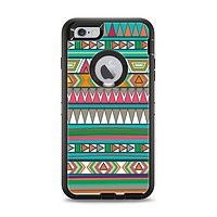 The Tribal Vector Green & Pink Abstract Pattern V3 Apple iPhone 6 Plus Otterbox Defender Case Skin Set