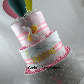 Balloon Diaper Cake, Girl Baby Diaper Cake,Pink & Grey diaper cake,Baby Shower Centerpiece,Baby Shower Decoration New Mom Gift,New Baby Gift