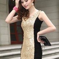 Sequin Body-con Dress - Black