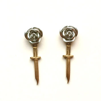 Ladylike Daggers - Dangle Flower Stud earrings with Vintage daggers