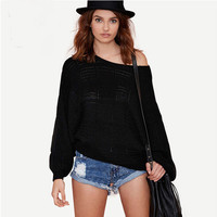 Loose Bat Sleeve Knitted Pullover Sweater