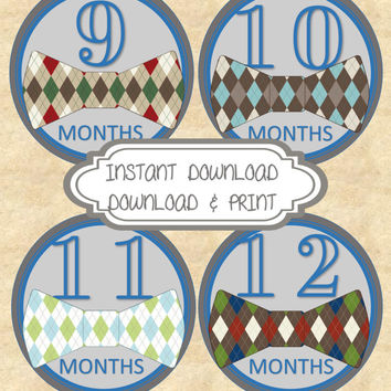 DIY INSTANT Download Printable Monthly Bow Tie Baby Month Stickers Month to Month Age Stickers Bow Tie and Blue and Grey  Design
