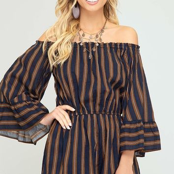 3/4 Bell Sleeve Woven Striped Off the Shoulder Romper - Navy